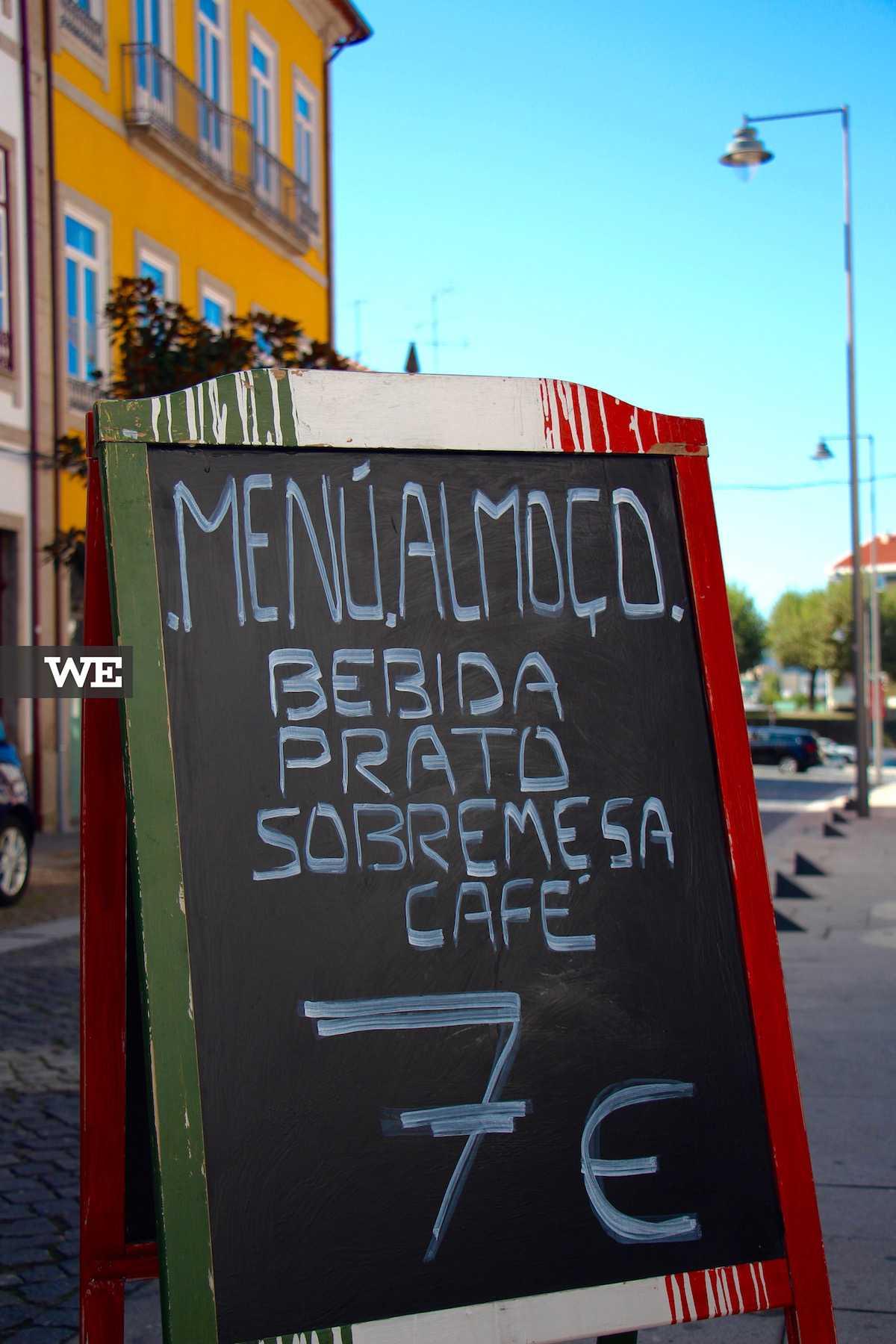 Menu Almoço do restaurante italiano La Piola, em Braga